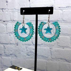 HANDMADE Starfish Beaded Boho Statement Earrings